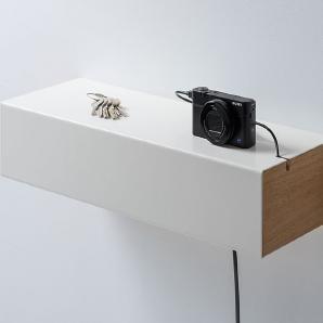 Hängeregal Schublade Weiß, Designer Christian Lessing, 10x50x18 cm