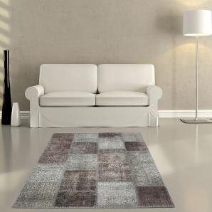 Teppich Sienna 160x230 cm Grau Wolle Patchwork, Teppiche