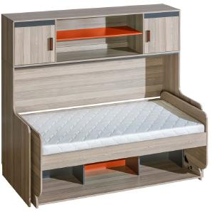Kinderbett / Jugendbett mit Schreibtisch Funktion, Ablage und Aufsatz Marcel 19, Farbe: Esche Orange / Grau / Braun - Liegefläche: 90 x 200 cm (B x L)