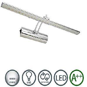 Hengda® 7W Weiß LED 180 ° Spiegellampe/Spiegelleuchte mit Schalter Badleuchte Bilderlampe Wandleuchte einstellbar Edelstahl Dual-Lichtquelle 400mm