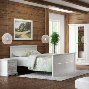 GRANADA Schlafzimmer Set Kiefer massiv creme-weiß 140x200