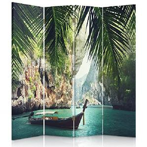 Feeby Frames. Die gedruckten auf Canvas Leinwand Wandschirme, dekorative Trennwand, Paravent einseitig, 4 teilig (145x180 cm), TROPEN, BLAU, GRÜN