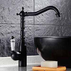 Küche drehbar Messing Armaturen Badezimmer Wasserhahn Mischbatterie, schwarz antik messing sy-36r