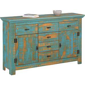 Home affaire Kiefer Sideboard aus massiver Kiefer, blau, Massivholz »Molly«, FSC®-zertifiziert
