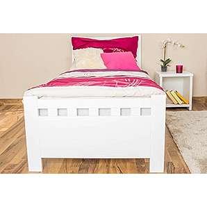 Tagesbett / Gästebett Kiefer massiv Vollholz weiß 68, inkl. Lattenrost - Abmessung 80 x 200 cm