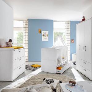 Komplett Babyzimmer »Lillesand« Babybett + Wickelkommode + Kleiderschrank, (3-tlg.), in Pinie NB, weiß