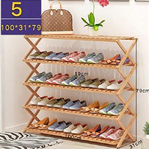 Schuhregal Natur Bambus Holz Einfache Faltbare Schuh Speicherorganisator Halter Mehrschichtige Multifunktionale Lagerregal ( größe : 100*31*79cm )