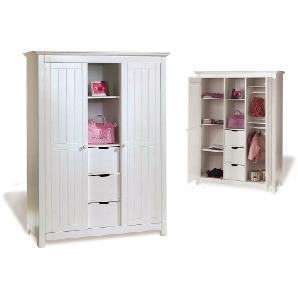 Pinolino Kinderkleiderschrank Nina - weiß mit Holzstruktur