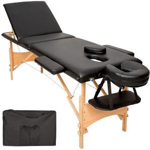 3 Zonen Massageliege Daniel mit Polsterung und Holzgestell schwarz
