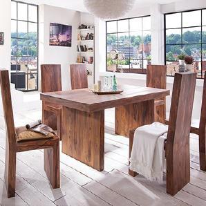 Massivum Country Esstisch mit 6 Stühlen, Holz, braun, 100 x 200 x 78 cm