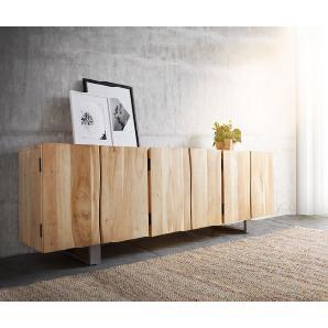 Sideboard Live-Edge 220 cm Akazie Gebleicht massiv 3 Türen, Sideboards, Baumkantenmöbel, Massivholzmöbel, Massivholz, Baumkante, Wolf Live Edge