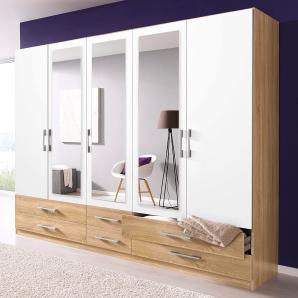 Rauch PACK`S Kleiderschrank beige, Breite 225 cm, 5-türig, 3 Spiegel, mit Schubkästen