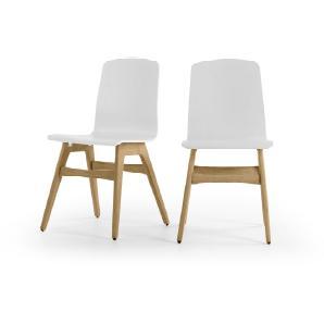 2 x Dante Esszimmerstühle, Weiß und Eiche