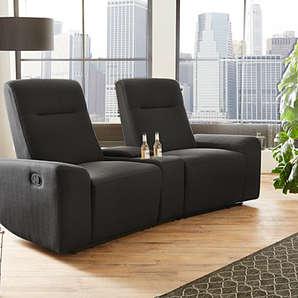 2er Cinema Sessel in dunkelgrauem Feinstrukturstoff mit Cupholder, Stauraumfach und Liegefunktion, Maße: B/H/T ca. 205/106/92 cm
