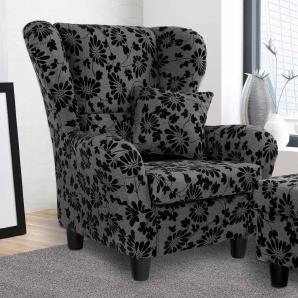 Sessel, Ohrensessel mit Zierkissen in grau-schwarz melierten Strukturstoff mit geflocktem Blumenprint bezogen, Maße : B/H/T ca. 90/98/76 cm