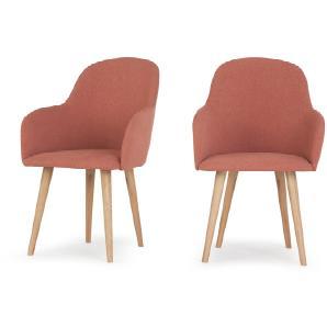 2 x Stig Armlehnenstühle mit hohem Rücken, Altrosa und Eiche