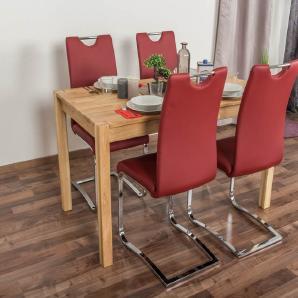 Wooden Nature Esstisch-Set 282 inkl. 4 Stühle (rot), Eiche Massivholz - 135 x 75 (L x B)