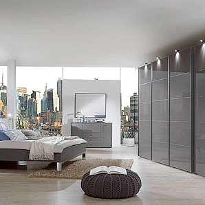 3-tlg. Schlafzimmer in Havanna-Dekor, Schwebetürenschrank B:330 cm, Polsterbett Liegefläche 180x200 cm, Nachtschrank -Paar- B:60 cm,