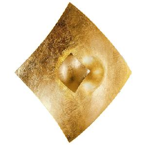 EEK A, Wandleuchte Quadrangolo Gold - Metall / Glas - Gold - 1-flammig, Hans Kögl
