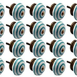 Möbelknöpfe aus Keramik - Streifen-Design - Türkis - 24 Stück