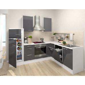 Respekta Premium Winkelküche RP260WGCGKE 260 cm Grau-Weiß