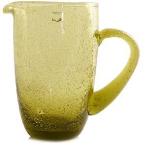 POMAX Karaffe VICTOR Glaskrug modern rustikal mit Luftbläschen grün