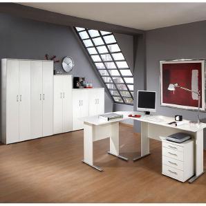 Büromöbel Set STETTIN-16 in weiß, Eckschreibtisch mit Container, 5 Aktenschränke