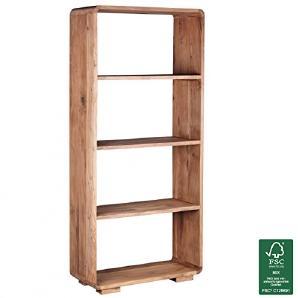 FineBuy Bücherregal Massiv Holz Akazie 85 X 190 Cm Wohnzimmer Regal  Ablagefächer Design Landhaus Stil Standregal