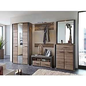 6-tlg. Garderoben-Set in San Remo Eiche Nachbildung mit Absetzungen in Schiefer Nachbildung, Maße: B/H/T ca. 265/200/42 cm