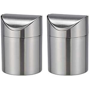 Bambelaa! Tischmülleimer Tischabfalleimer Abfallbehälter Küchenabfalleimer Edelstahl Schwingdeckel 12cm Durchmesser ca.19cm hoch (Edelstahl, 2 Stück)