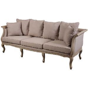 3 Sitzer Sofa im Vintage Design Beige Stoff