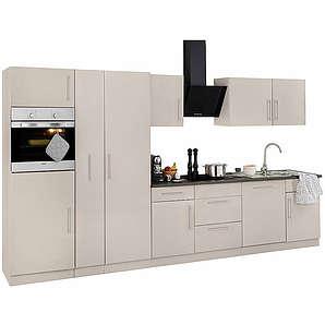 Küchenzeile Cali mit E-Geräten Breite 360 cm natur