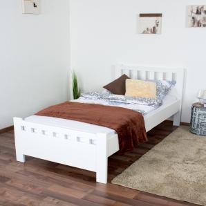 Einzelbett / Gästebett Kiefer massiv Vollholz weiß 68, inkl. Lattenrost - Abmessung 90 x 200 cm