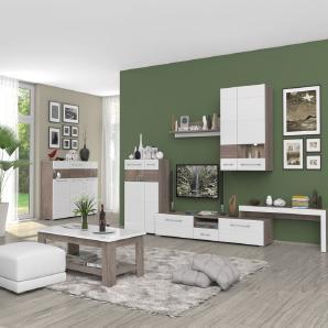 Wohnzimmer Komplett - Set A Sasina, 7-teilig, Farbe: Eiche Dunkelbraun / Weiß Hochglanz