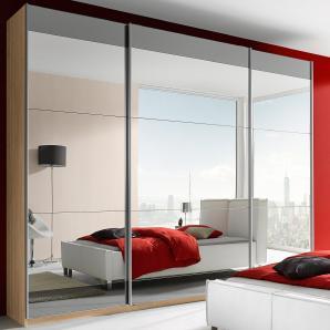 Rauch SELECT Schwebetürenschrank beige, mit Spiegel, oben und unten Grauspiegelstreifen, Breite 315cm
