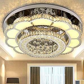 80CM runden Kristalllampe Wohnzimmerlampe kreative LED-Blütenblatt Hallendecke (stufenlose Dimmung)