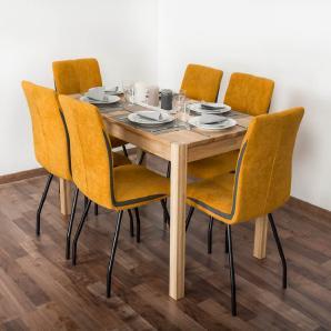 Wooden Nature Esstisch-Set 287 inkl. 6 Stühle (gelb), Eiche Massivholz - 135 x 75 (L x B)