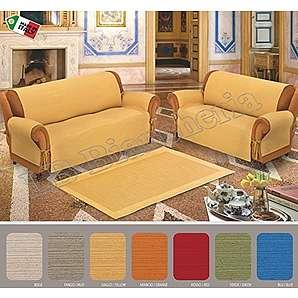 Sofaüberwurf Alabama mit Schnürsenkel uni 7Farben Verarbeitung A Jacquard-Made in Italy 100% Qualität Extra grün-2Sitzer Sitzung cm 110