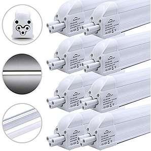 8 Stü DM T5 G5 60CM lang 8W 810LM recycelbare LED Leuchtstofflampe Röhre mit Fassung in kaltweiß (6000-6500K), 48* SMD 2835, Material aus Aluminium und PC, umweltfreundliche LED Tube mit RoHs und CE Zertifikation