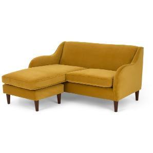Helena 2-Sitzer Sofas (Récamiere flexibel), Samt in Kurkumagelb