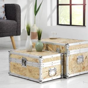 2er Set individuelle Couchtische EXPEDITION Truhentisch Modern Art