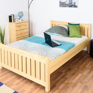 Einzelbett / Gästebett Kiefer massiv Vollholz natur 65, inkl. Lattenrost - 140 x 200 cm (B x L)