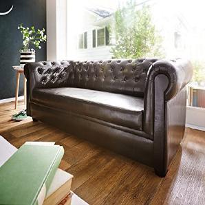 Couch Chesterfield Braun 3-Sitzer Sofa Abgesteppt Gepolstert