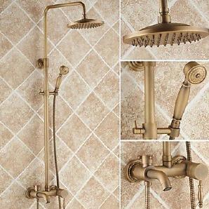 LISABOBO ® Messing antik Badewanne Dusche Wasserhahn mit 8-Zoll-Duschkopf + Handbrause