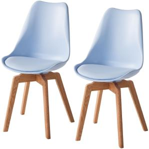 Esszimmerstuhl Woodwynn (2er-Set) - Kunststoff / Buche massiv - Eisblau, Morteens