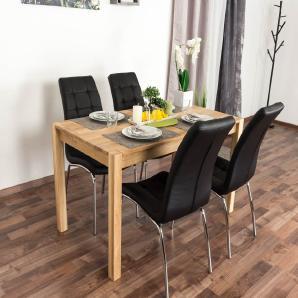 Wooden Nature Esstisch-Set 293 inkl. 4 Stühle (schwarz), Eiche Massivholz - 135 x 75 (L x B)