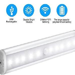 10 LED  PIR Automatische Sensor Lampe LED-Lichtleiste Bewegungsmelder für Schrank Schränke, Schublade, Schlafzimmer, Flur, Werkstatt, Keller, Garage, Treppenhaus,Dachboden, Flur mit Magnetstreifen und USB Kabel