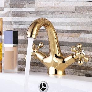 PLKOI Polieren Von Verchromten Edelstahl Waschbecken WC Mixer Zwei Einzelne  Bohrung Kaltes Wasser Gold