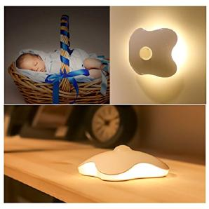 Four Leaf Clover Körper Sensor-Leuchten 6 LED-Leuchten Perlen-Klee-Nachtlicht bewegliche drahtloses Klee-Licht (batteriebetrieben, Gelb)