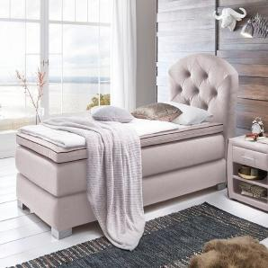 ATLANTIC home collection Boxspringbett grau, 90/200cm, Härtegrad 2, FSC®-zertifiziert